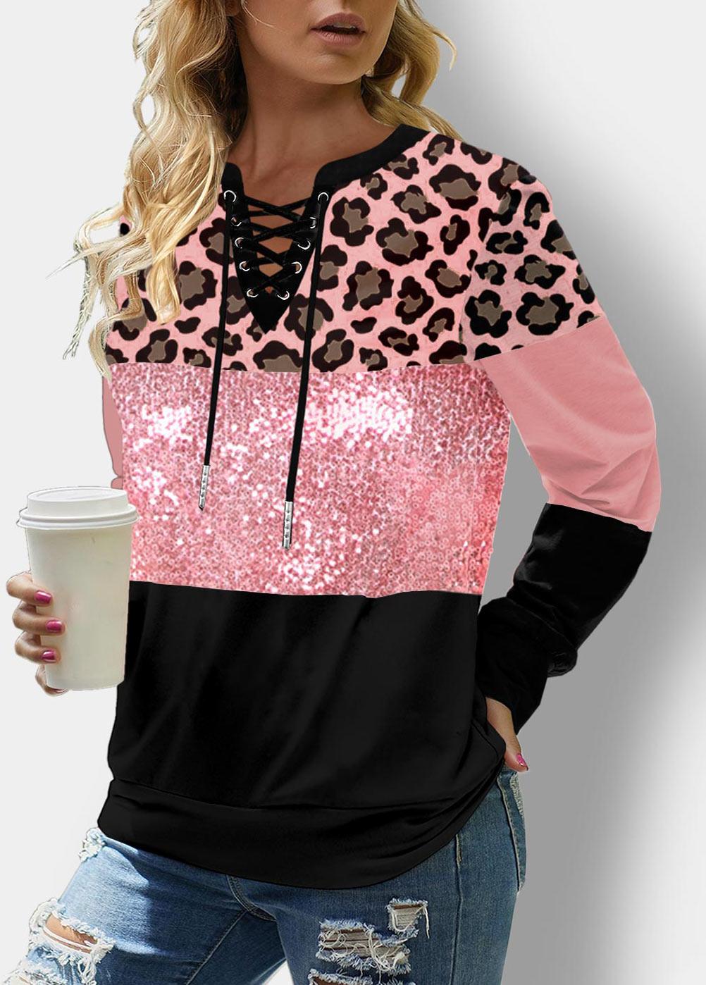 ROTITA Sequin Panel Lace Up Leopard Sweatshirt