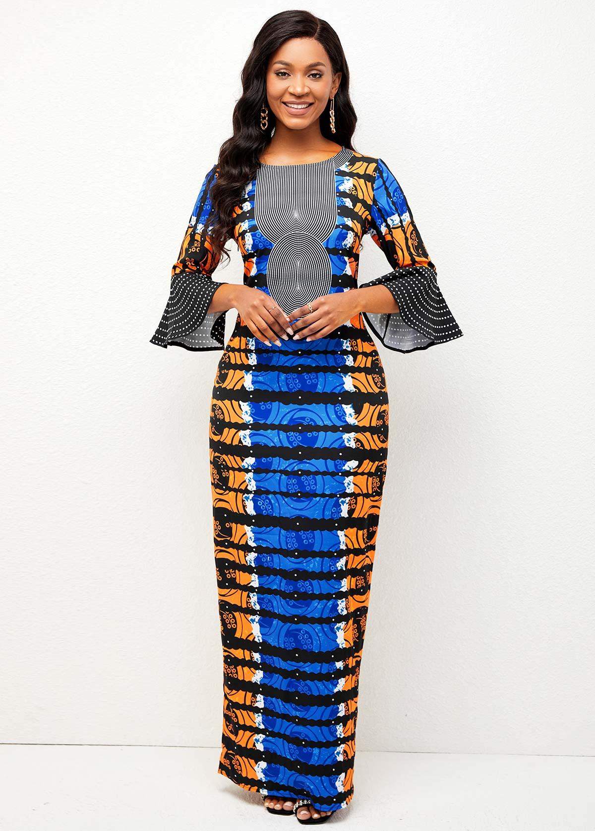 ROTITA Tribal Print Back Slit Round Neck Dress