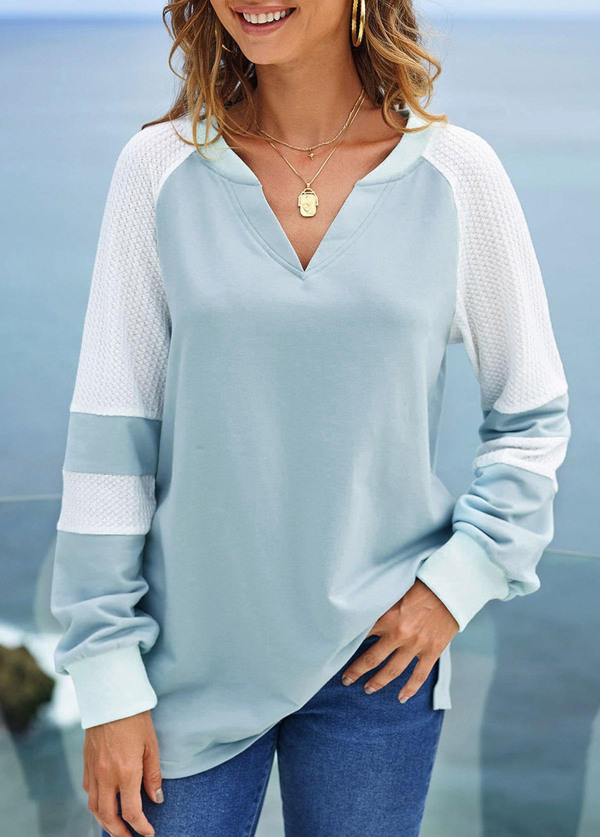 ROTITA Split Neck Contrast Long Sleeve Sweatshirt