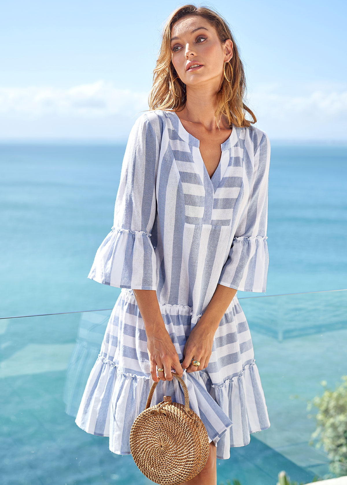 ROTITA Split Neck Striped Flare Sleeve Dress