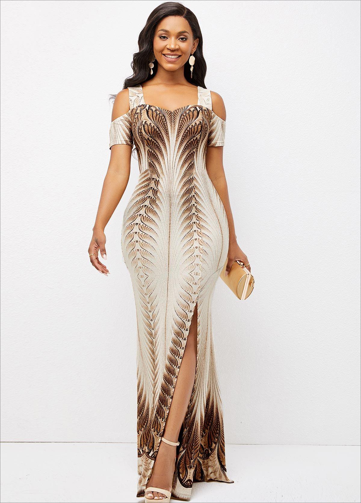 ROTITA Foil Print Side Slit Texture Knitted Dress