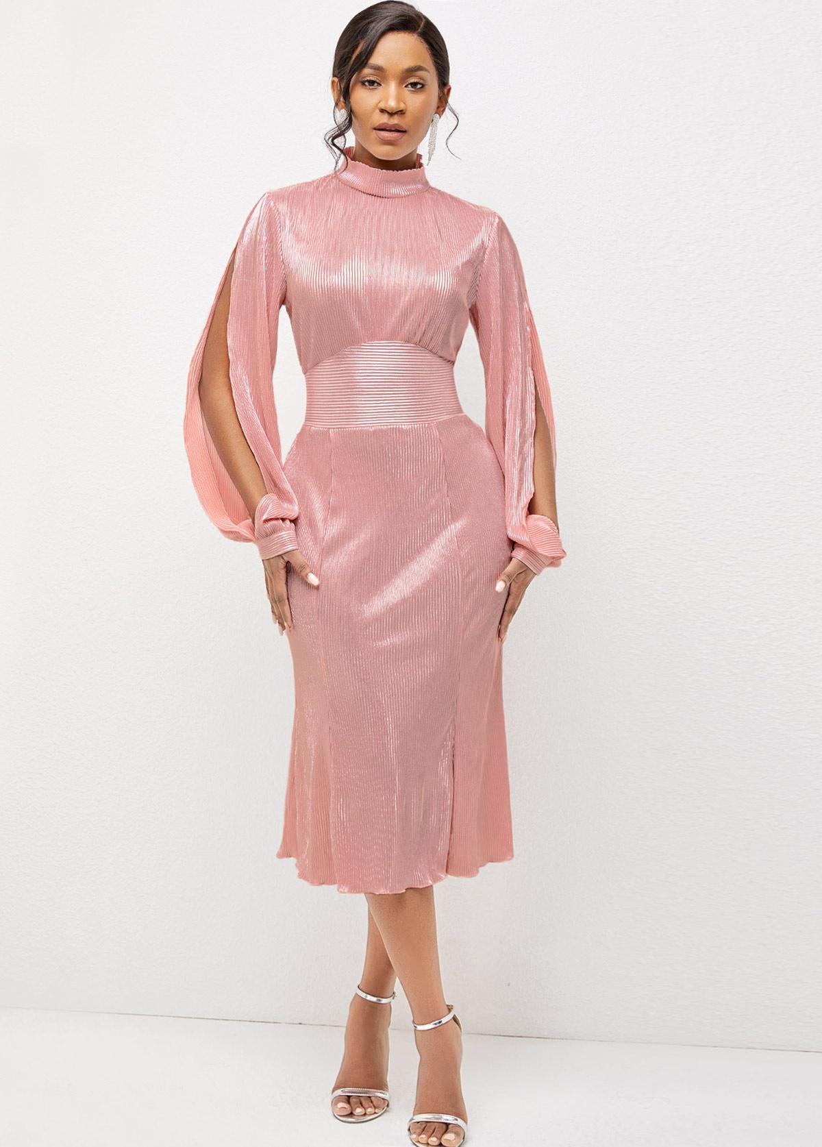 ROTITA Long Sleeve Mock Neck Cutout Detail Dress