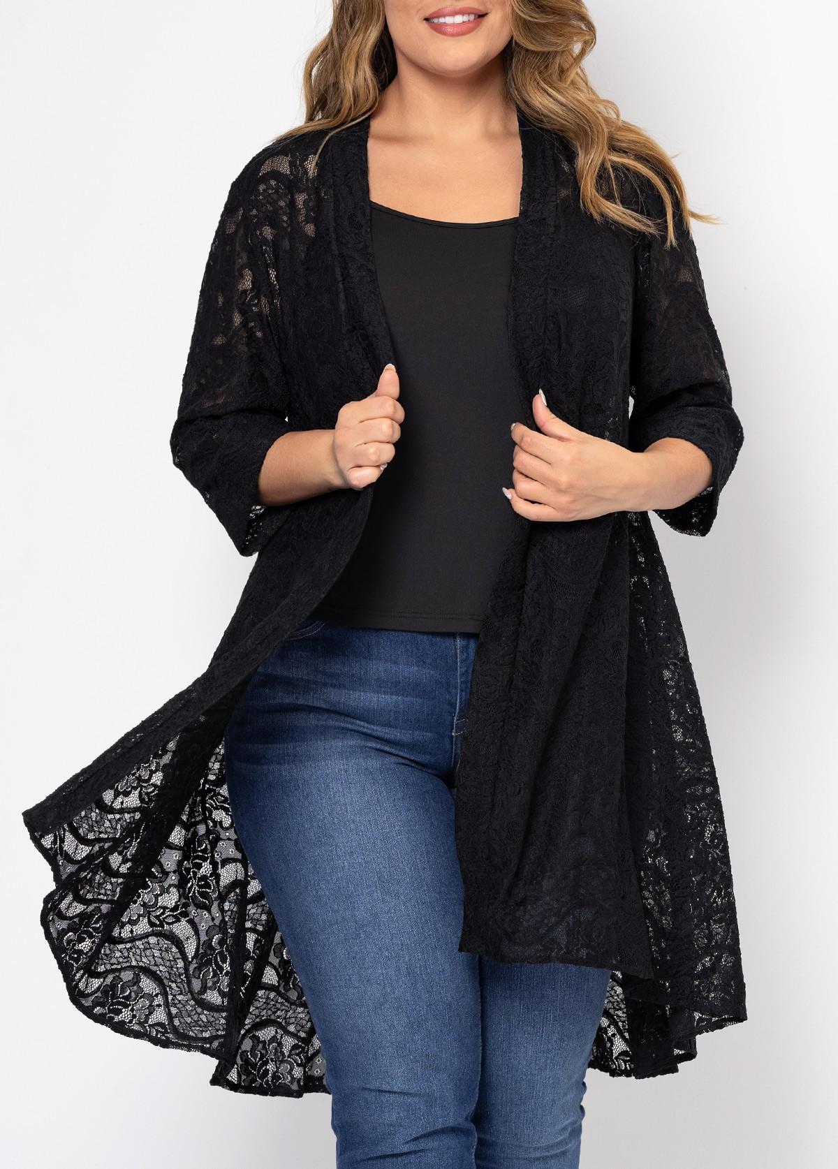ROTITA Lace Stitching Solid Plus Size Cardigan