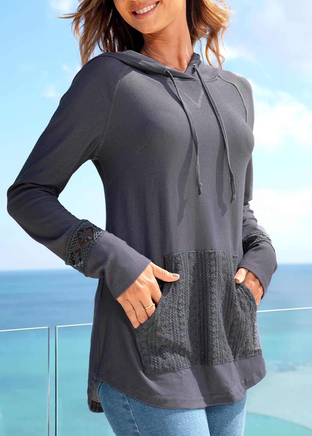 ROTITA Lace Patchwork Hooded Collar Long Sleeve Tunic Top