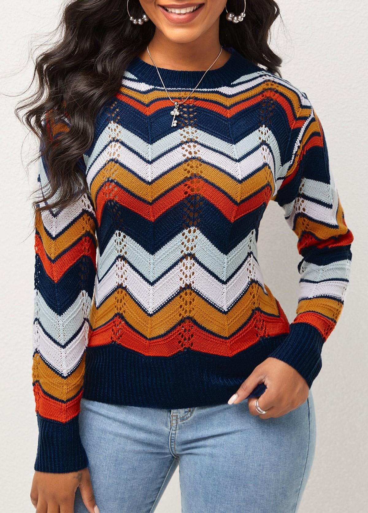 Round Neck Chevron Print Long Sleeve Sweater