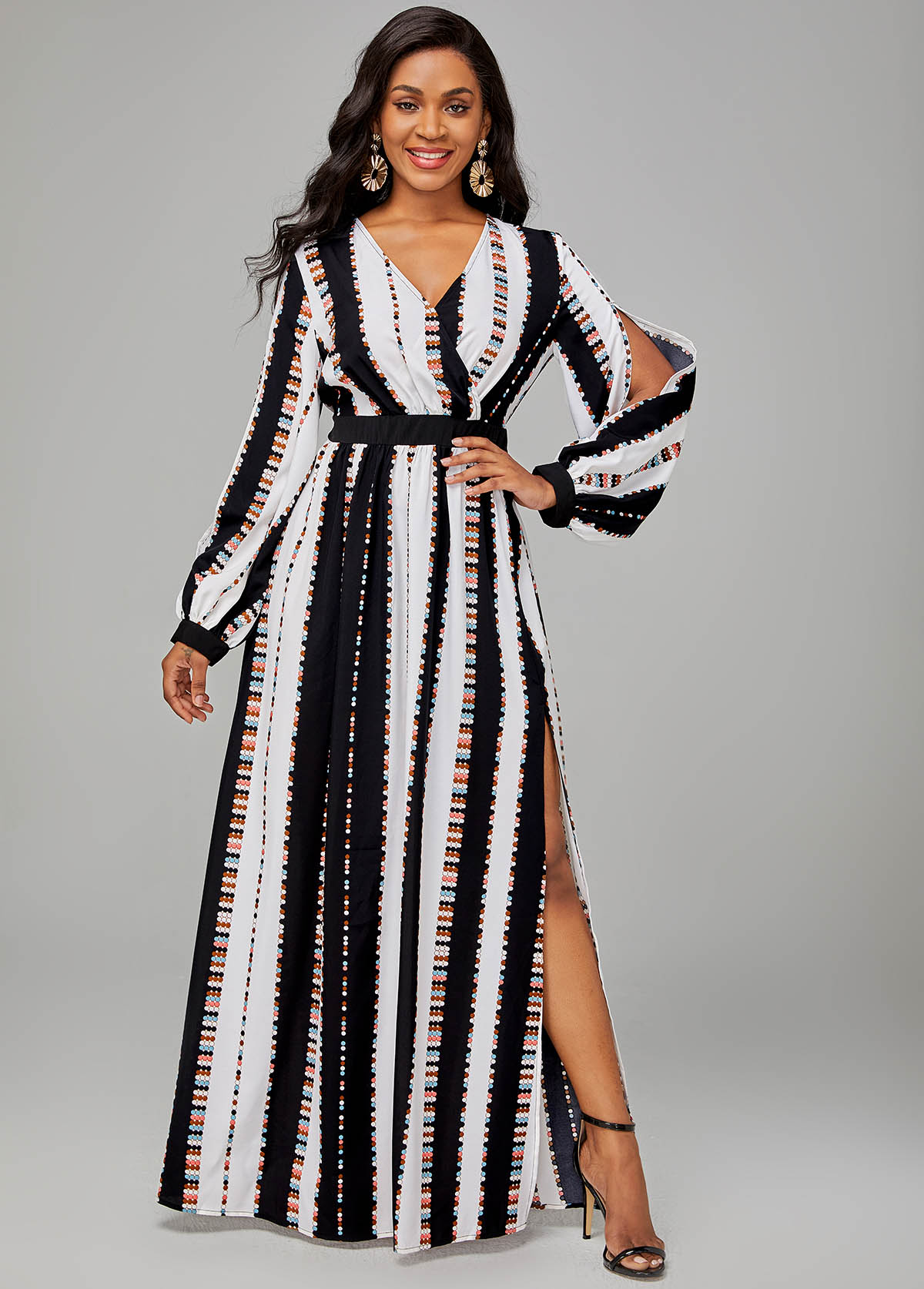 ROTITA Side Slit Striped V Neck Long Sleeve Dress