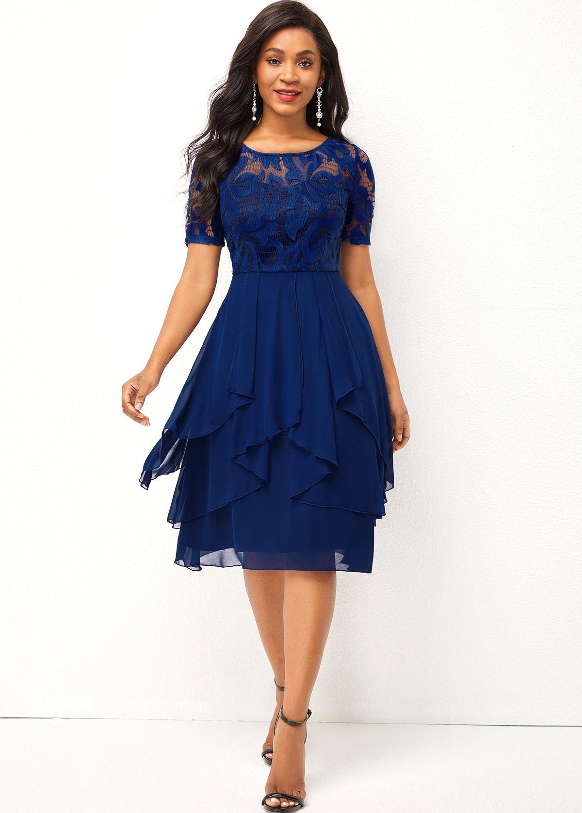 ROTITA Asymmetric Hem Chiffon and Lace Stitching Round Neck Dress