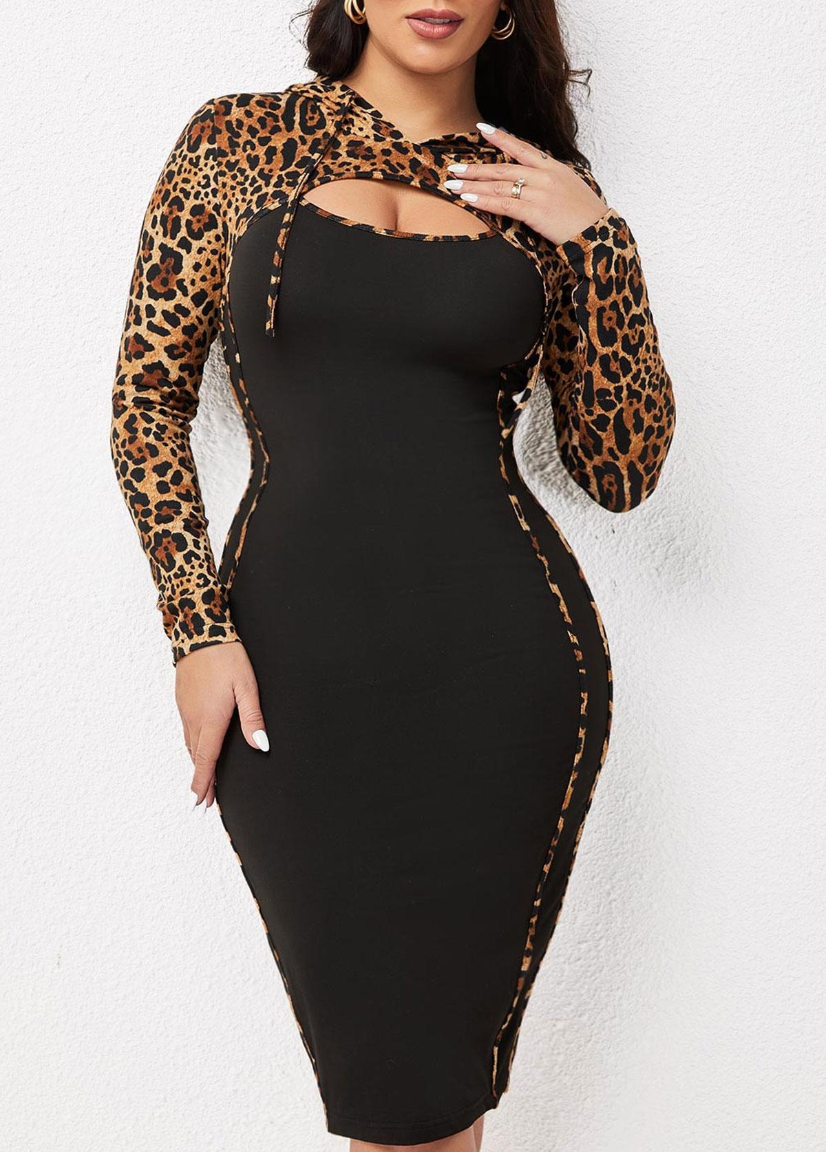 ROTITA Long Sleeve Cutout Neck Leopard Dress