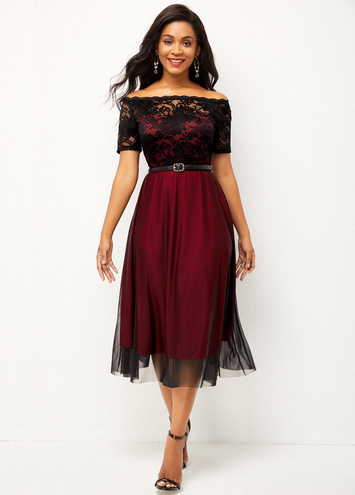 ROTITA Lace Patchwork Short Sleeve Off Shoulder Dress