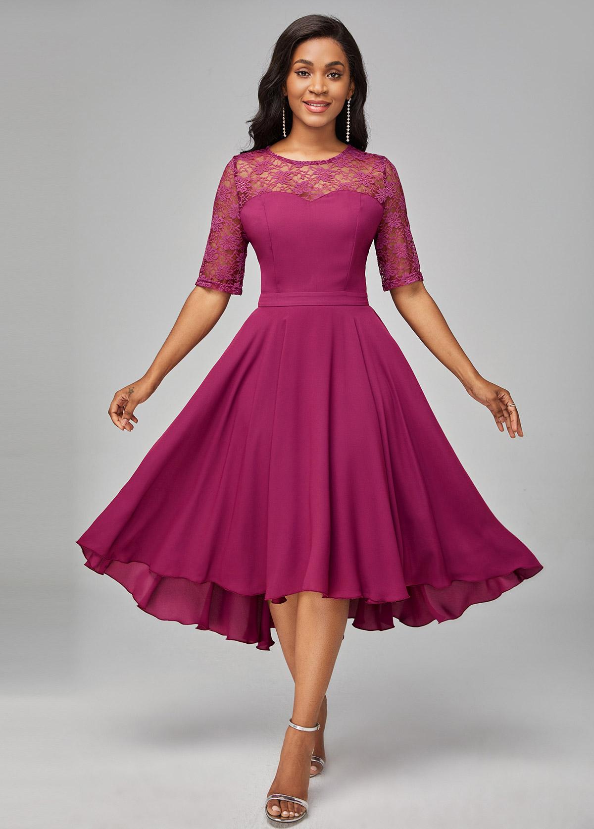 ROTITA Solid Asymmetric Hem Lace Patchwork Dress