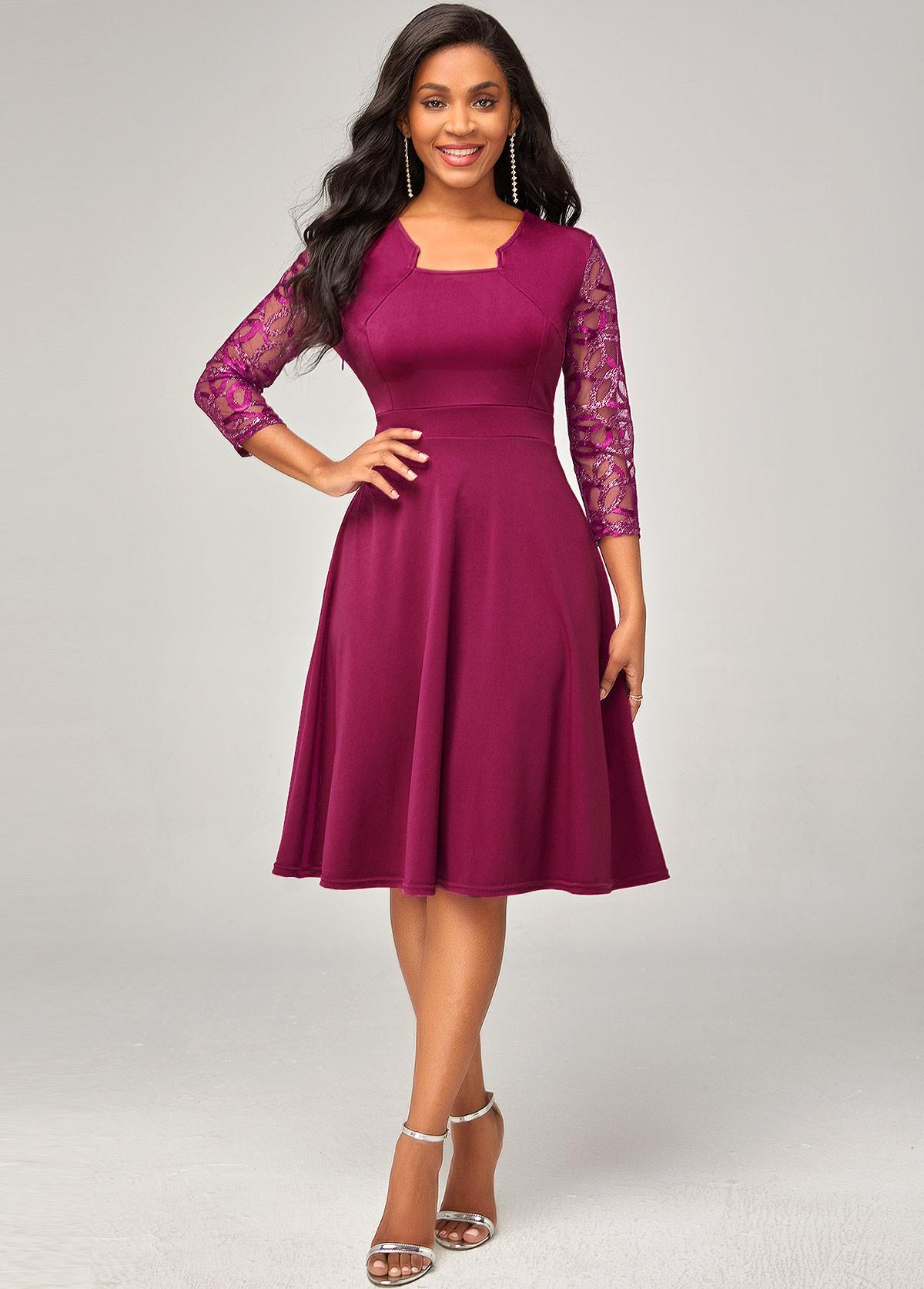 ROTITA 3/4 Sleeve Lace Stitching Solid Dress