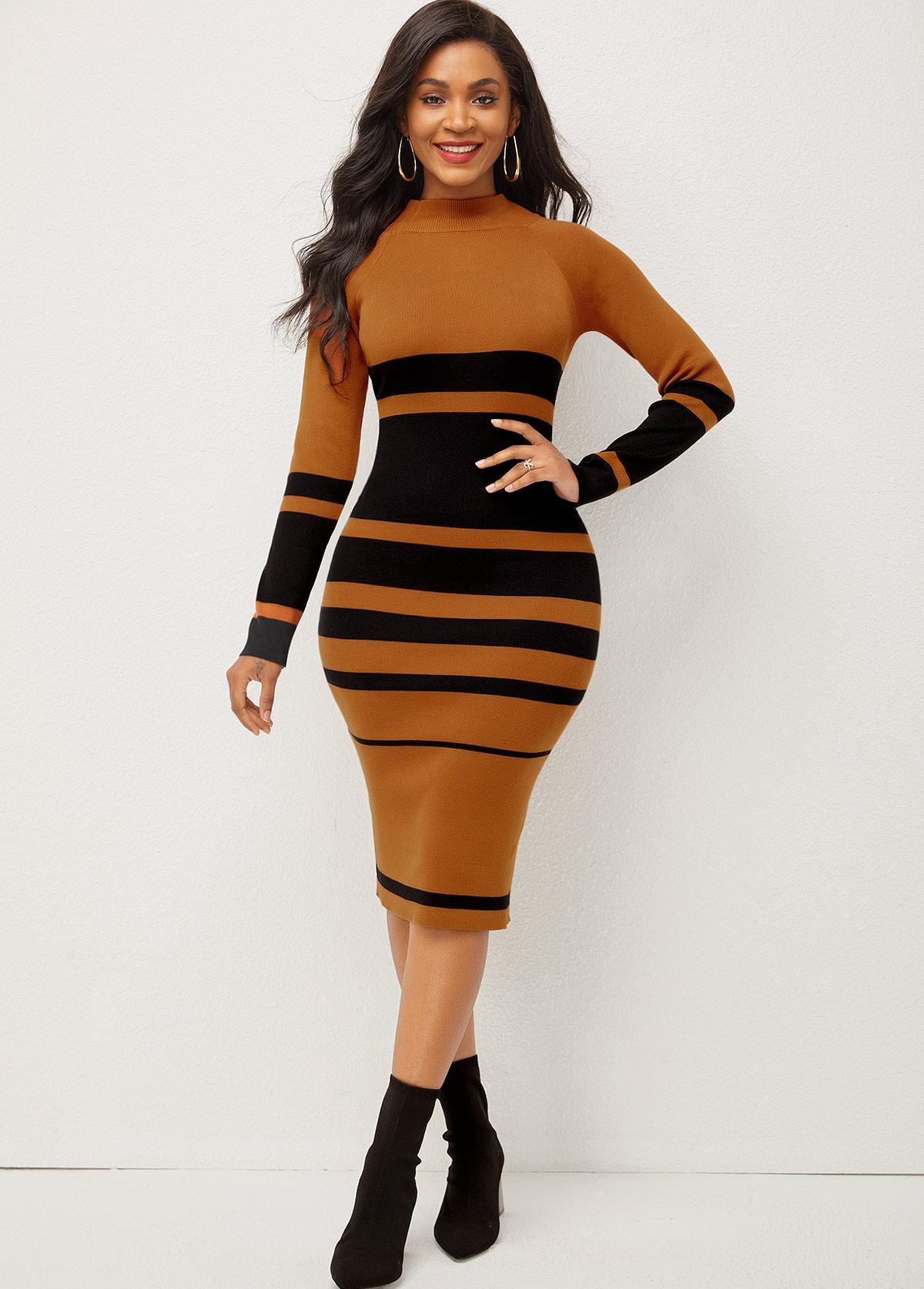 ROTITA Long Sleeve Stripe Print Mock Neck Sweater Dress