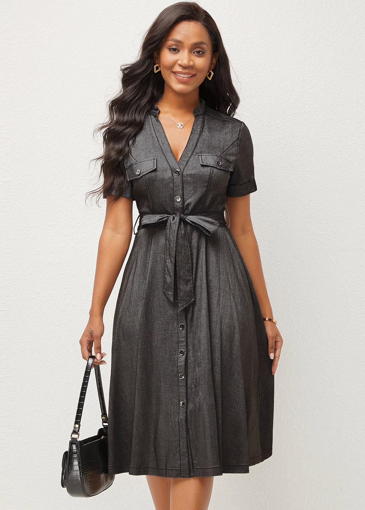 ROTITA Button Up V Neck Short Sleeve Dress