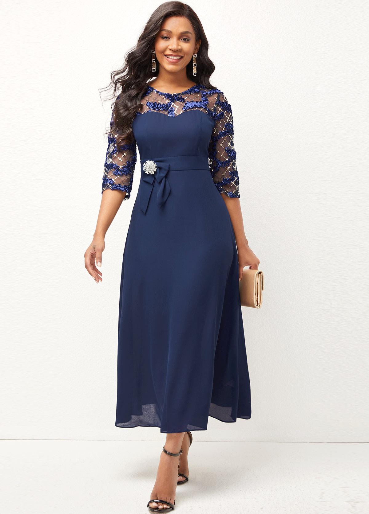 ROTITA Shining Lace Stitching Round Neck 3/4 Sleeve Dress