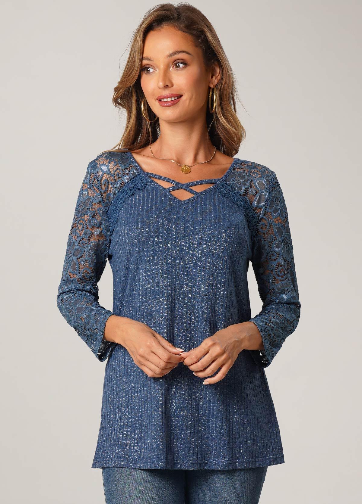 ROTITA Lace Stitching Cross Strap 3/4 Sleeve Tunic Top