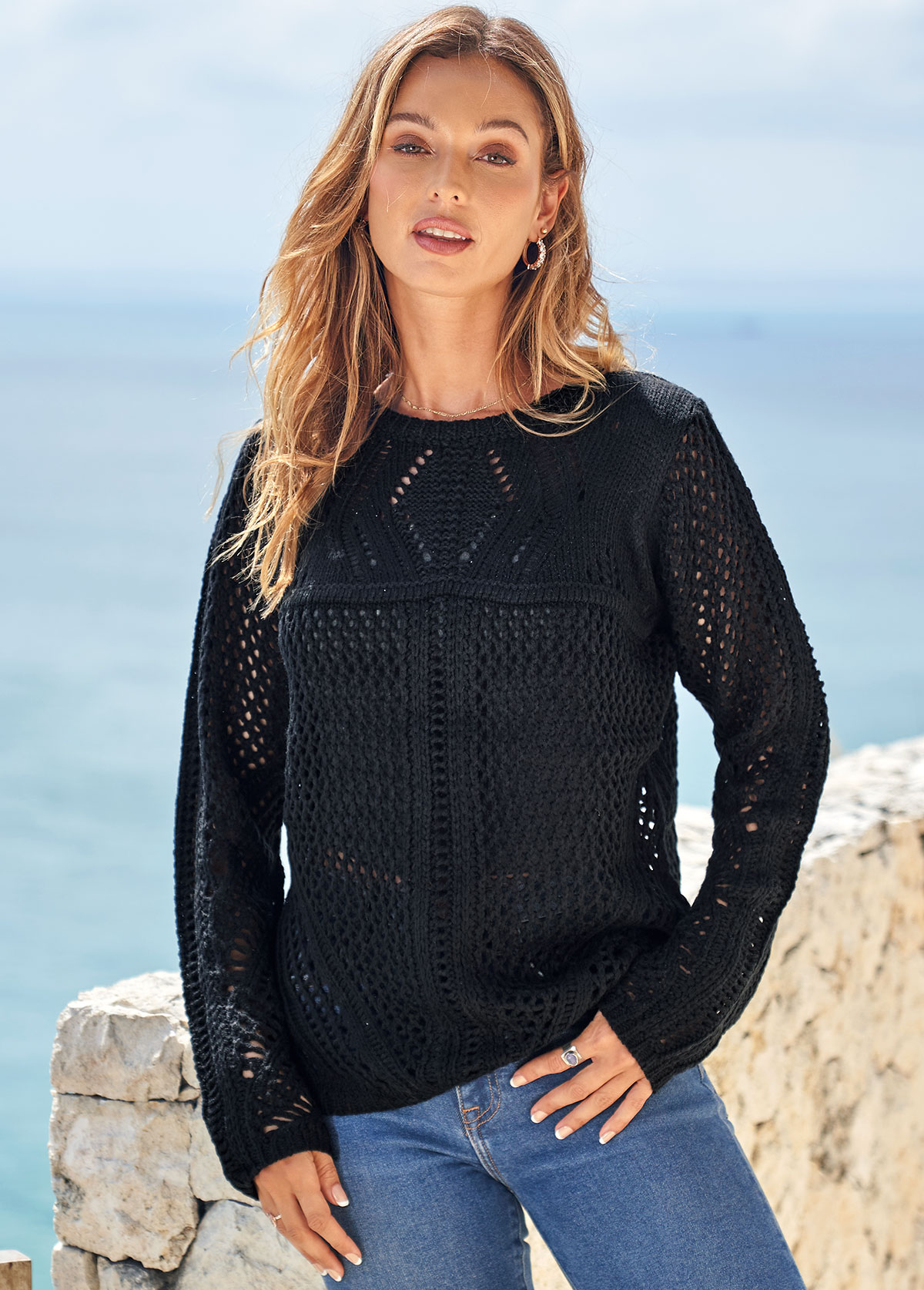 Long Sleeve Solid Pierced Round Neck Sweater