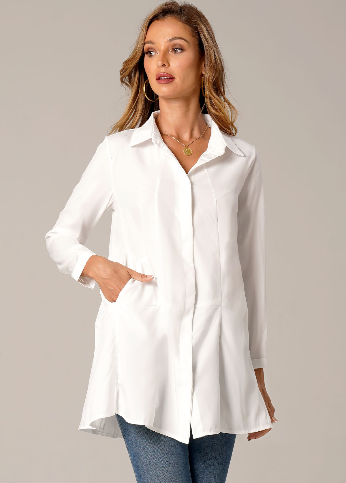 Solid Double Side Pockets Turndown Collar Blouse