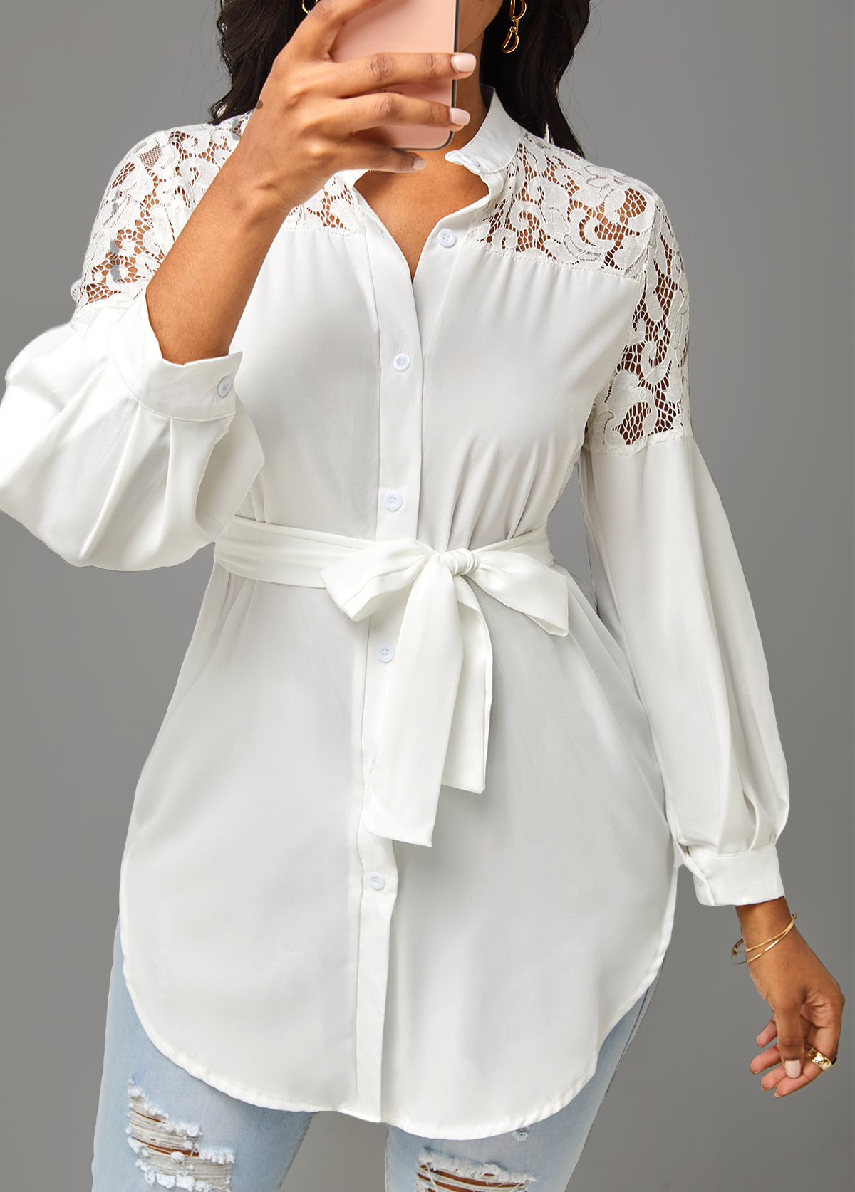 Solid Lace Stitching 3/4 Sleeve Blouse