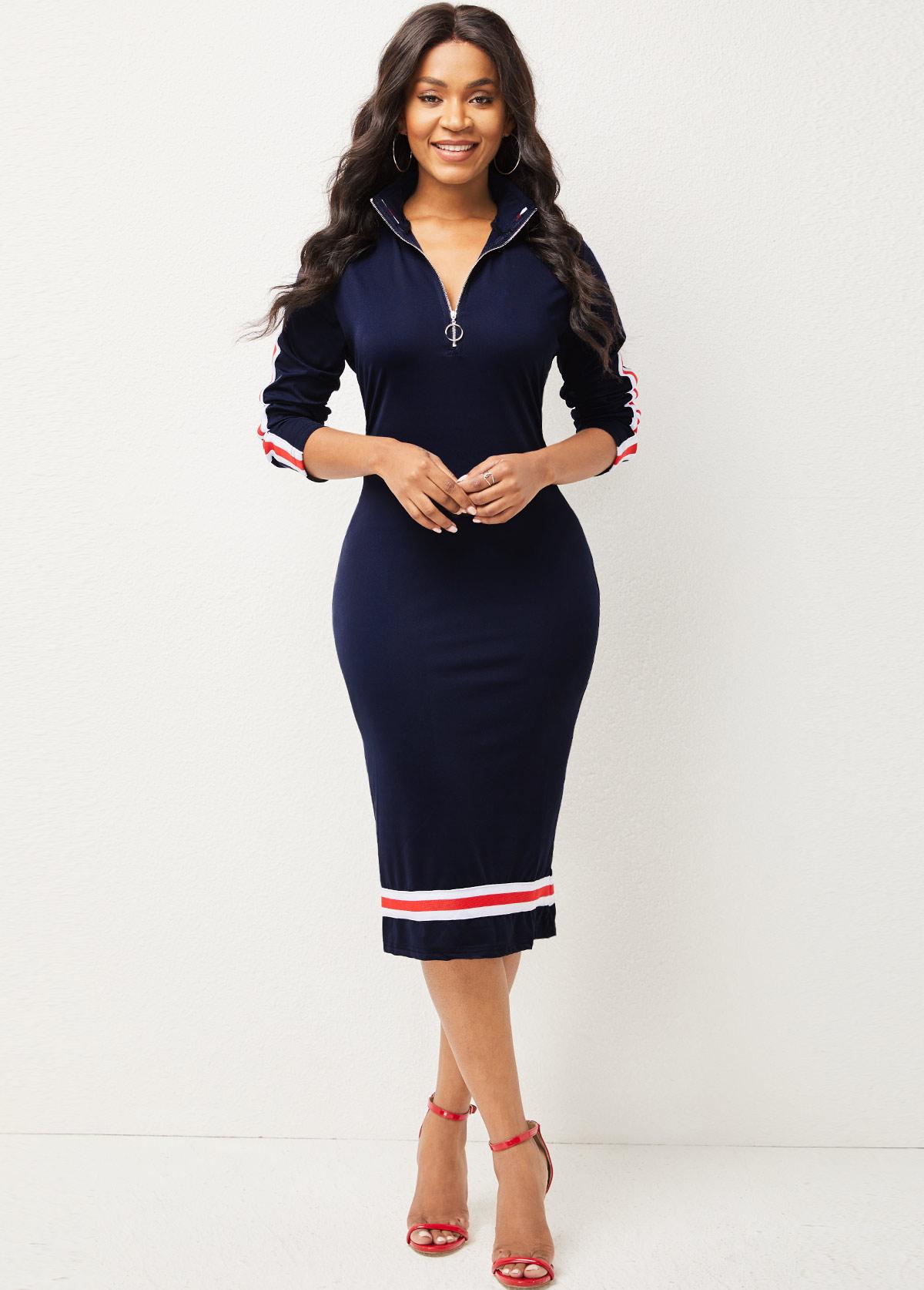 ROTITA Striped Quarter Zip Long Sleeve Dress
