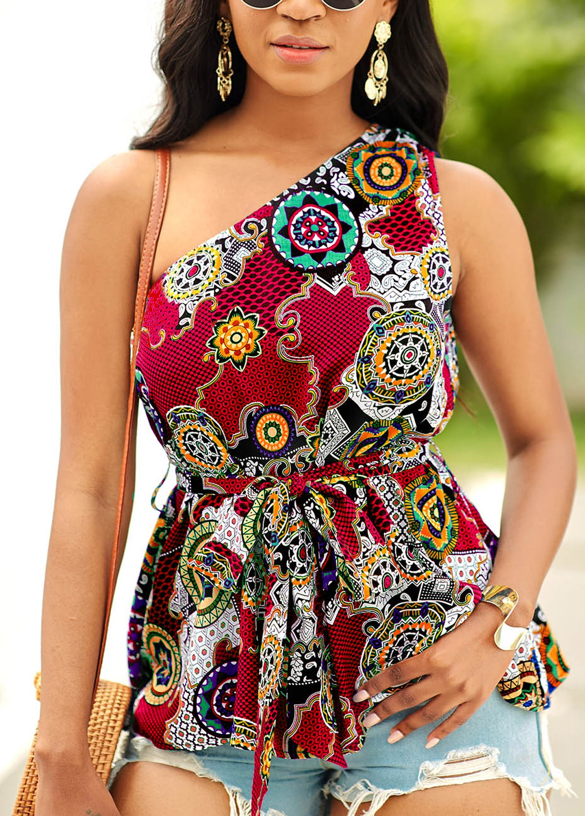 ROTITA One Shoulder Tribal Print Tie Front Blouse