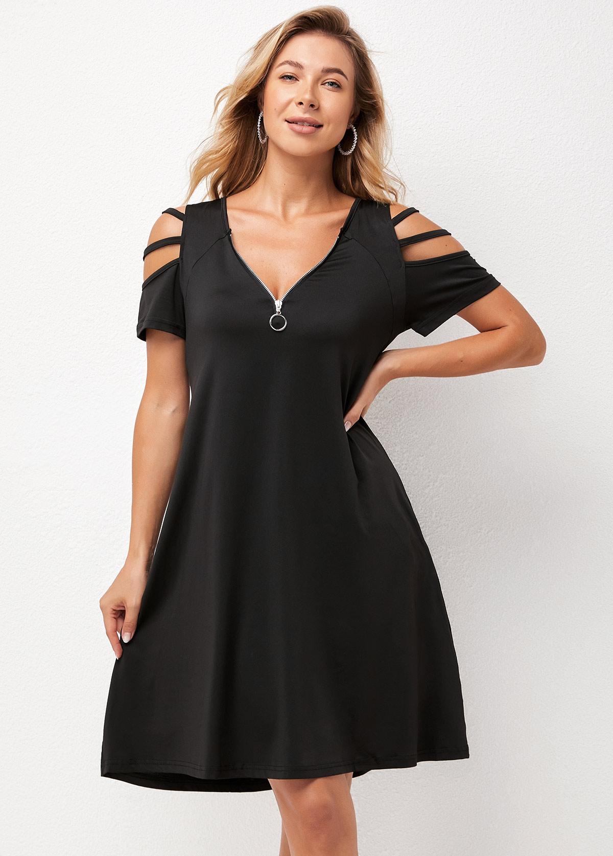 Ladder Cutout Pocket Quarter Zip Dress