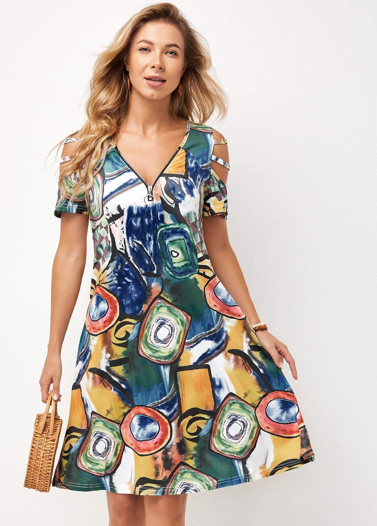 Quarter Zip Ladder Cutout Double Side Pocket Dress