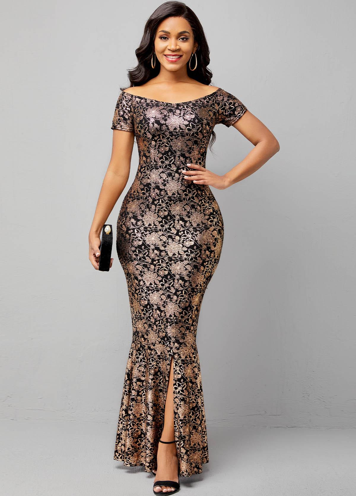 ROTITA Off Shoulder Hot Stamping Short Sleeve Mermaid Dress