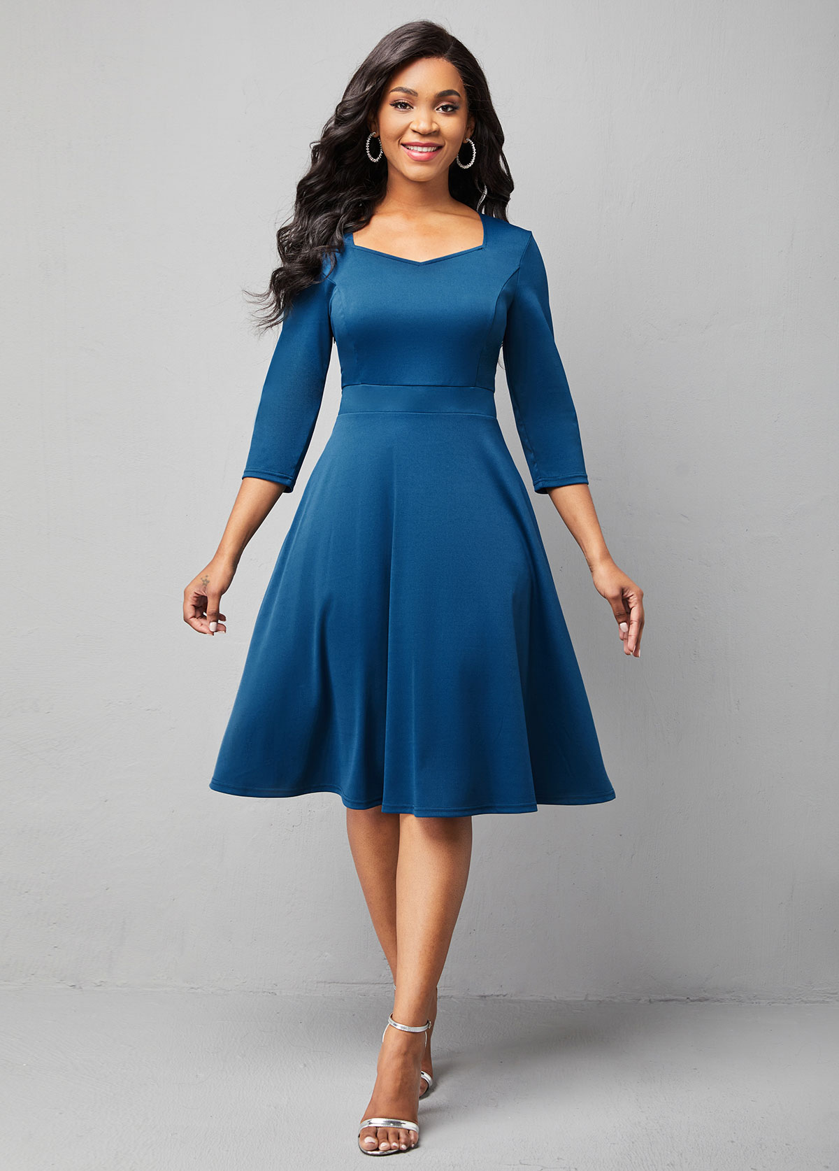 ROTITA 3/4 Sleeve Solid Sweetheart Neckline Dress