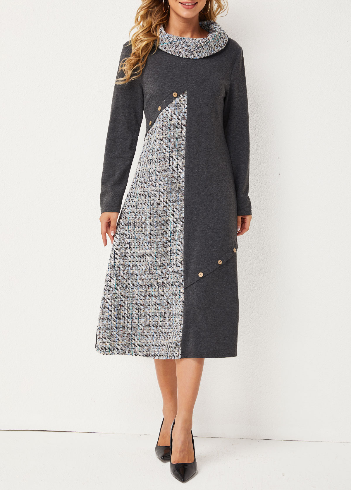 ROTITA Cowl Neck Inclined Button Contrast Dress