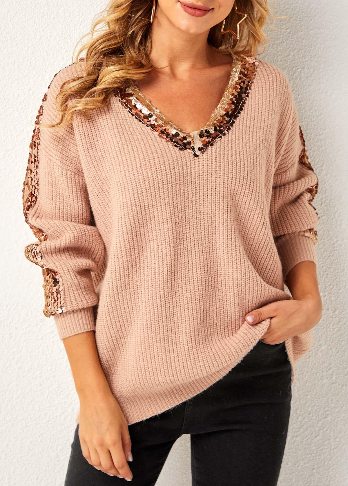 ROTITA Sequin Khaki Long Sleeve V Neck Sweater