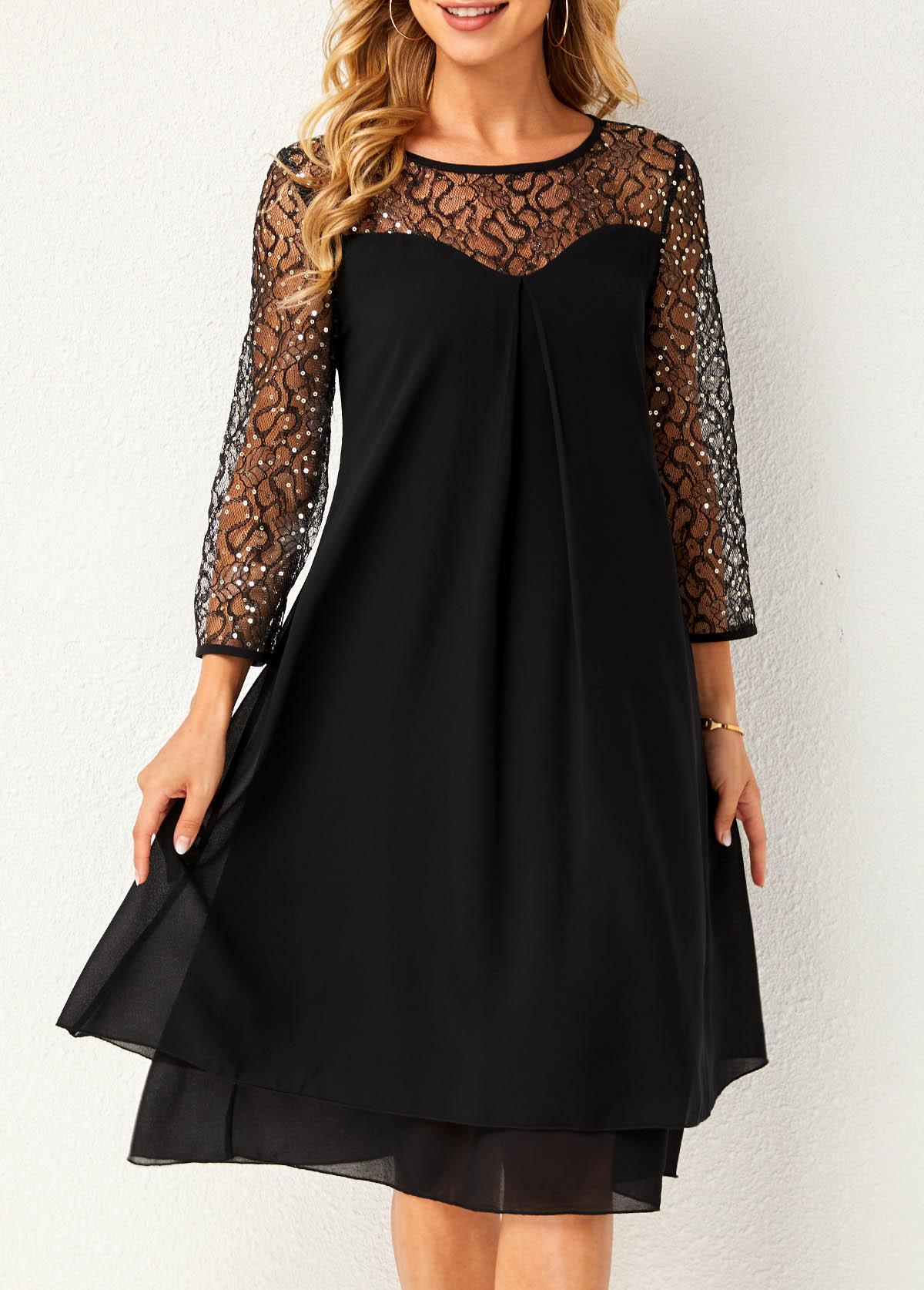 ROTITA Round Neck Lace Stitching Layered Hem Dress