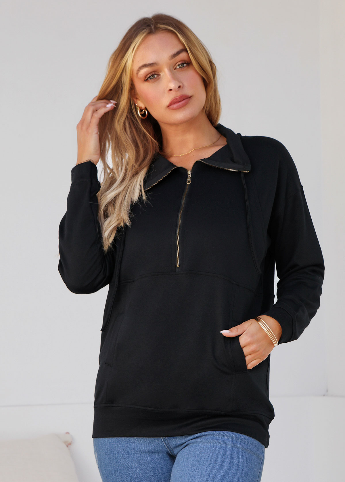 Quarter Zip Double Side Pockets Long Sleeve Sweatshirt