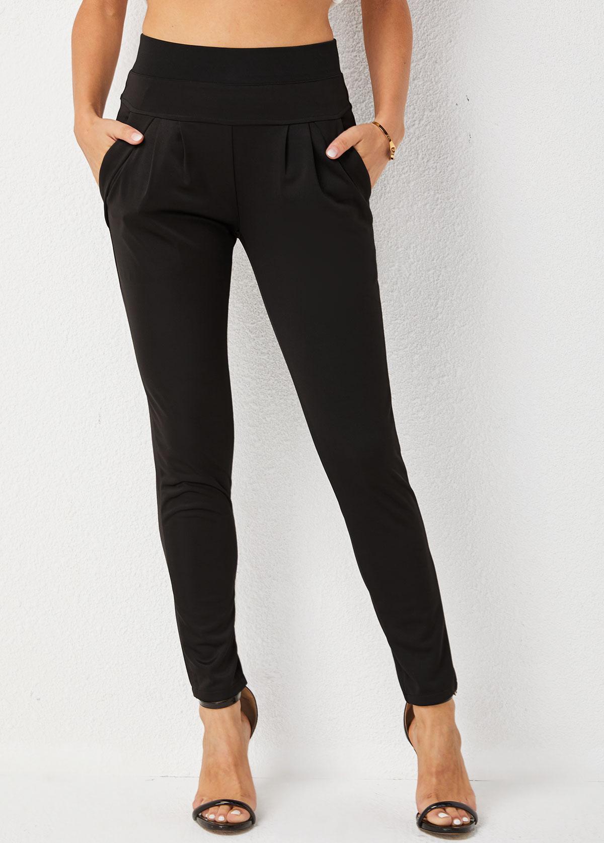 High Waisted Skinny Pocket Solid Pants