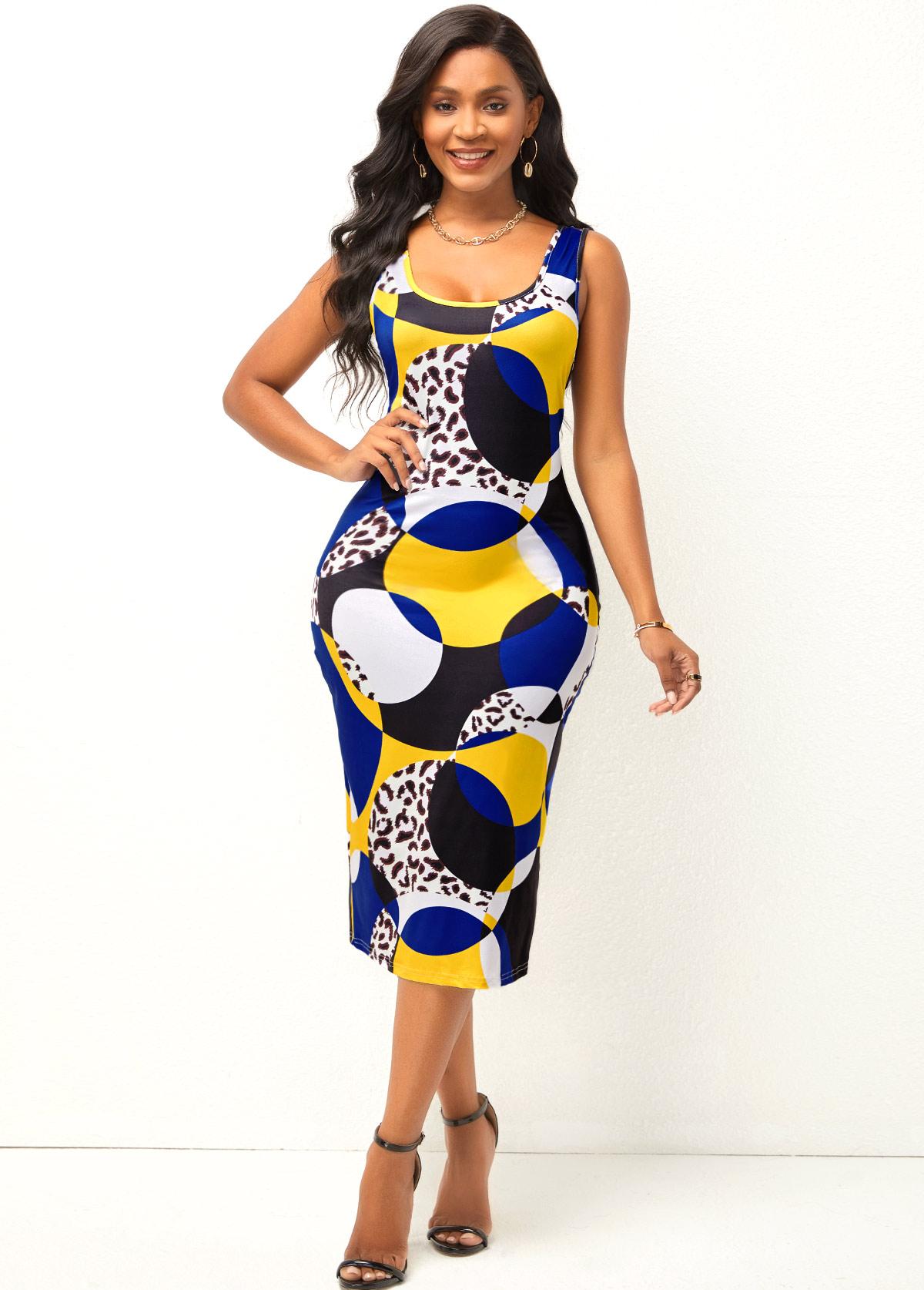 Geometric Print Wide Strap Leopard Dress