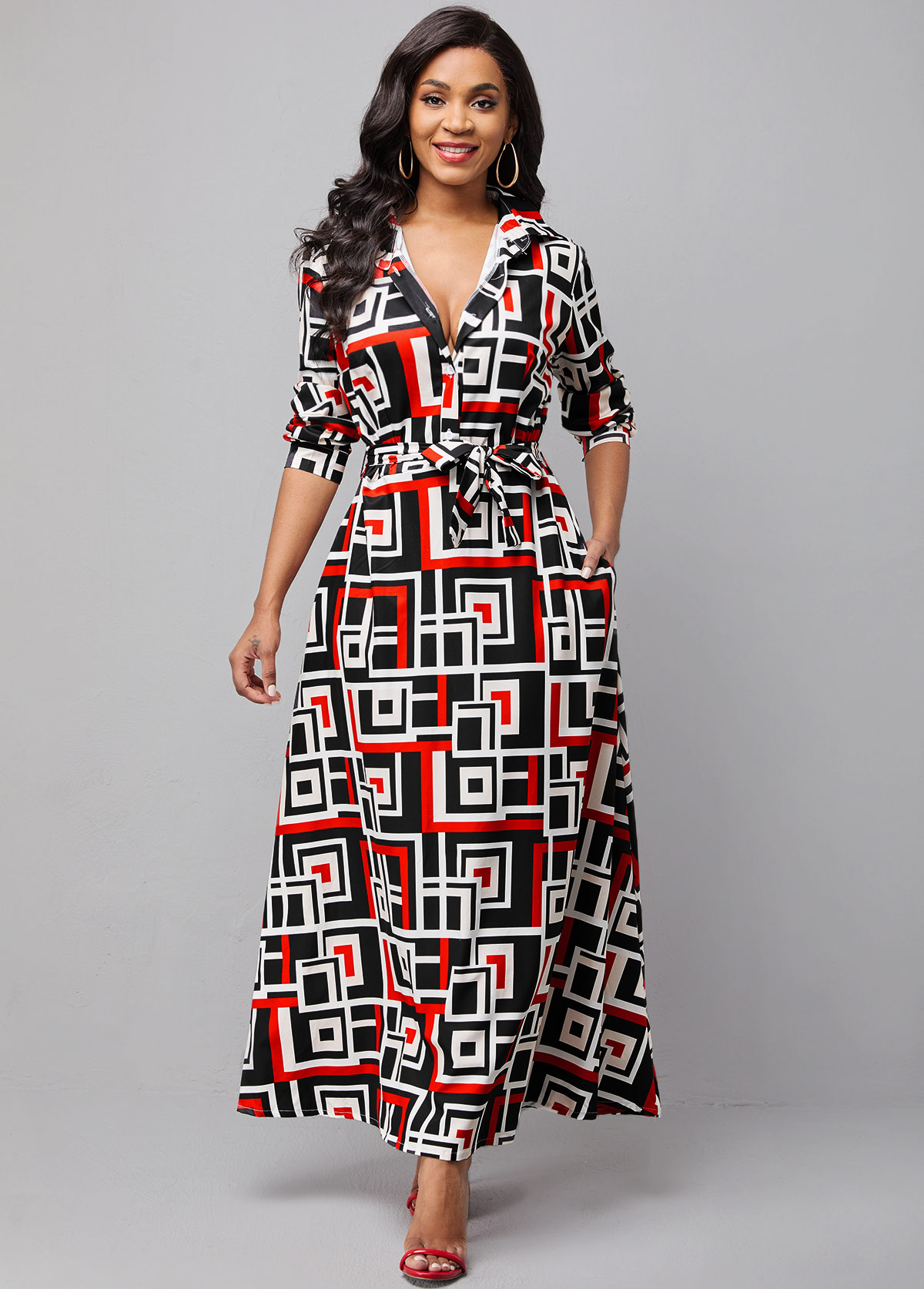 Belted Double Side Pockets Geometric Print Dress