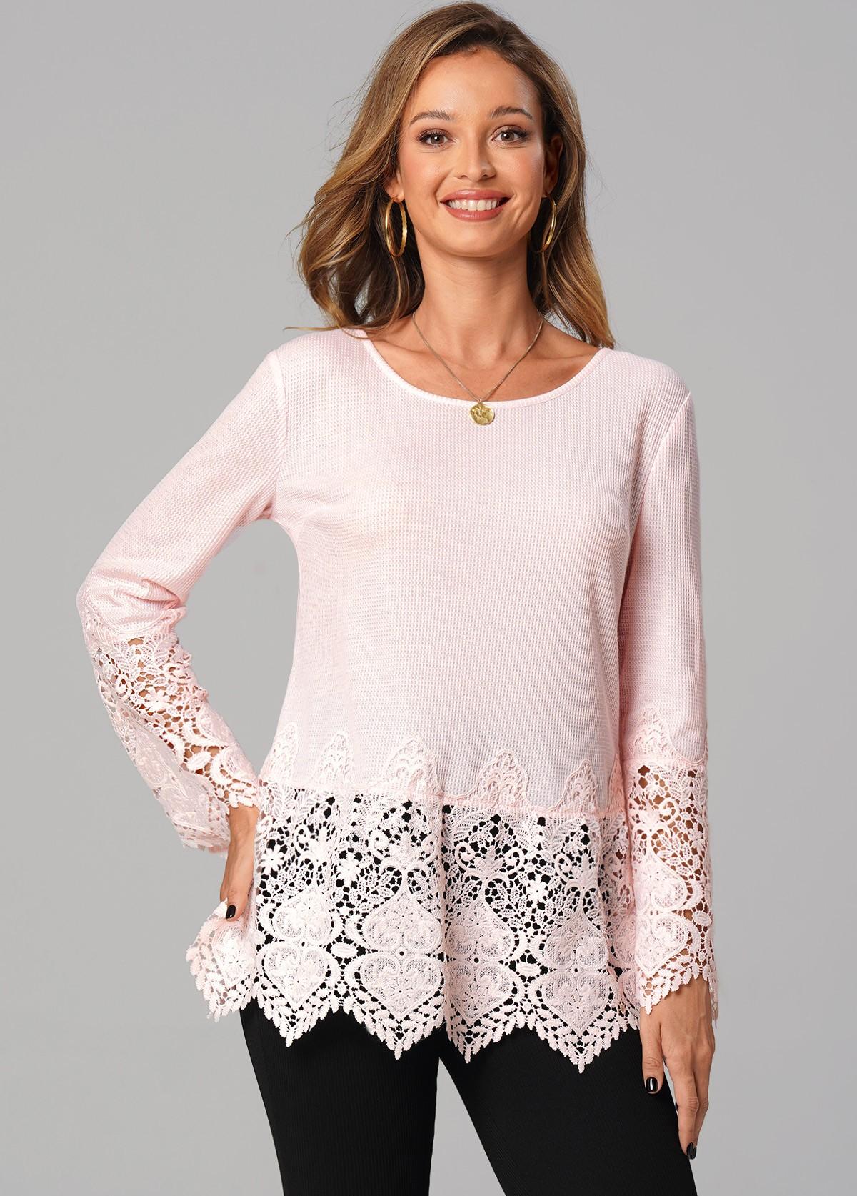 ROTITA Round Neck Lace Stitching Long Sleeve Tunic Top