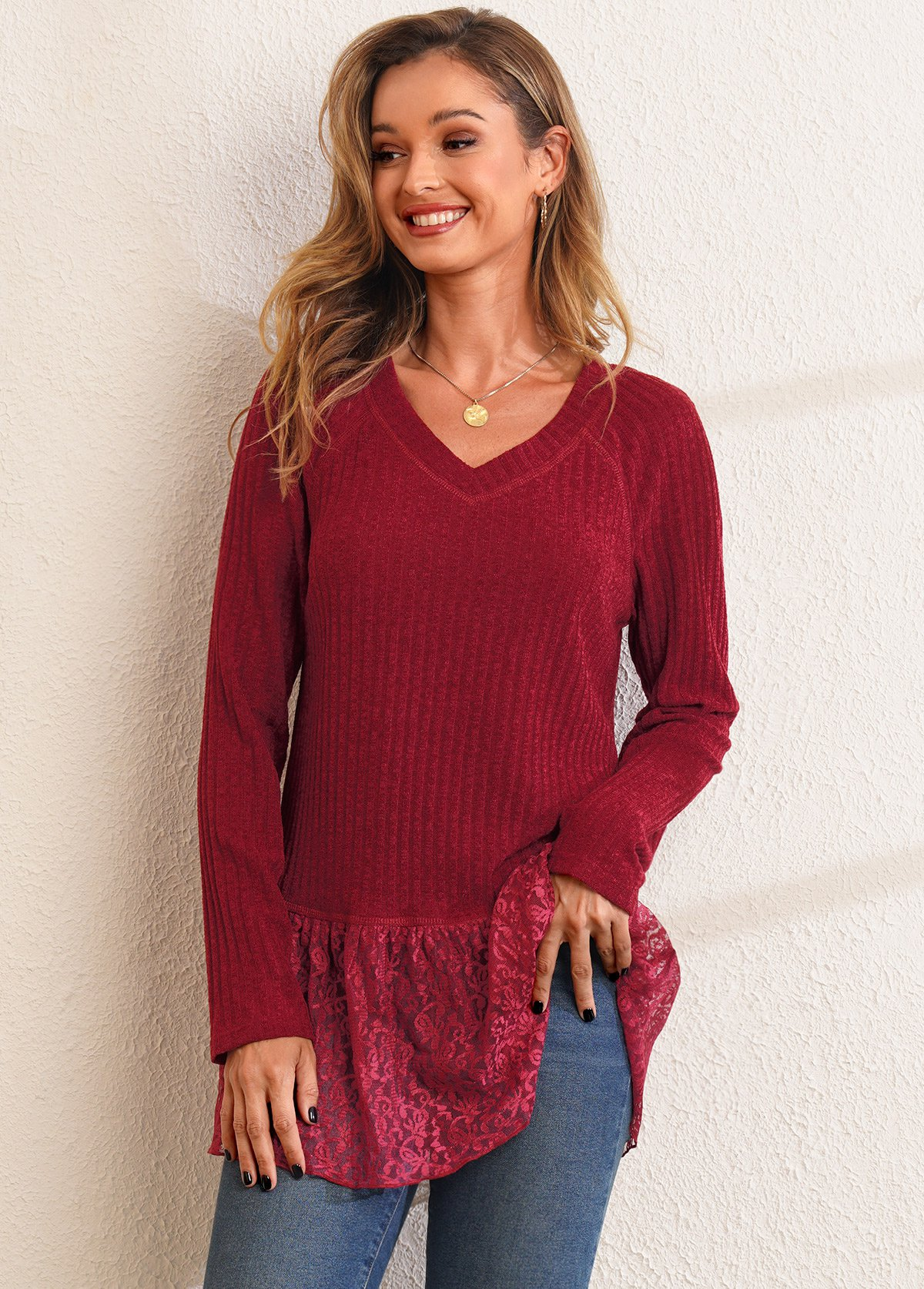 ROTITA Solid Lace Patchwork V Neck Long Sleeve T Shirt