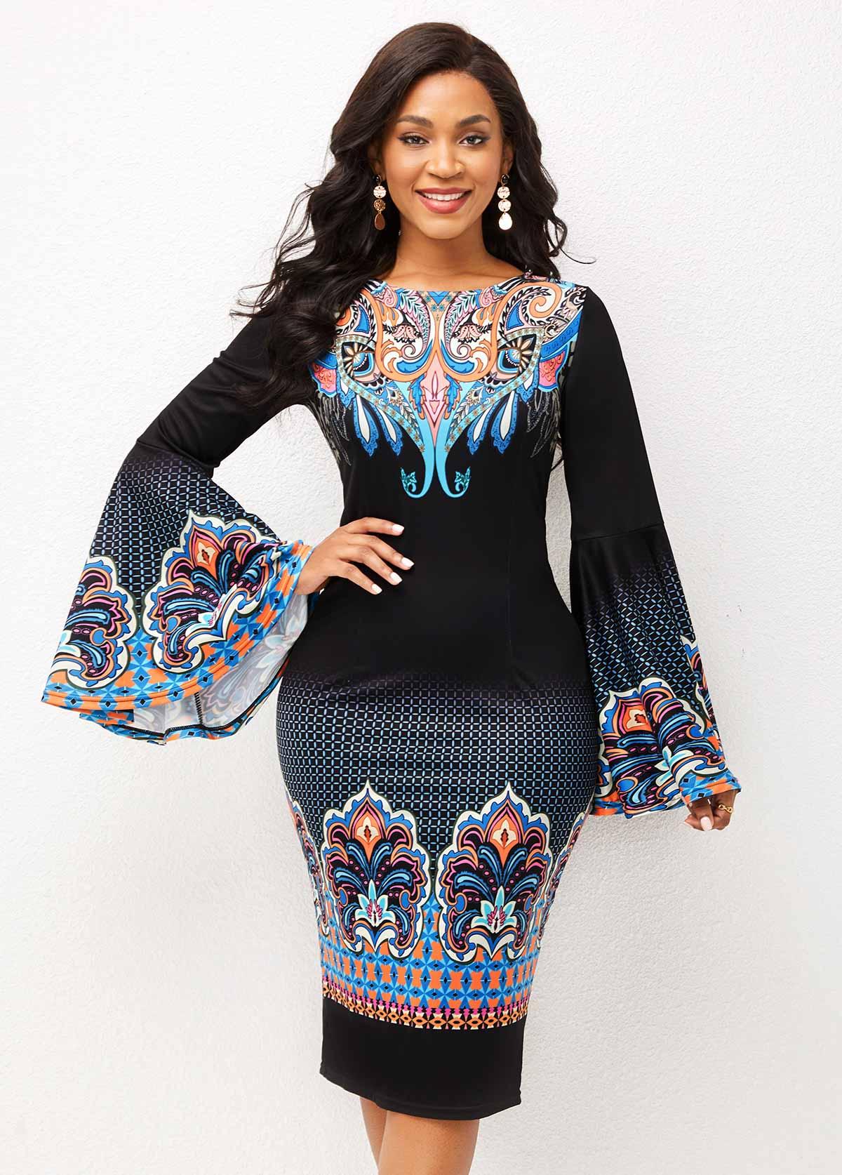 ROTITA Tribal Print Round Neck Flare Sleeve Dress