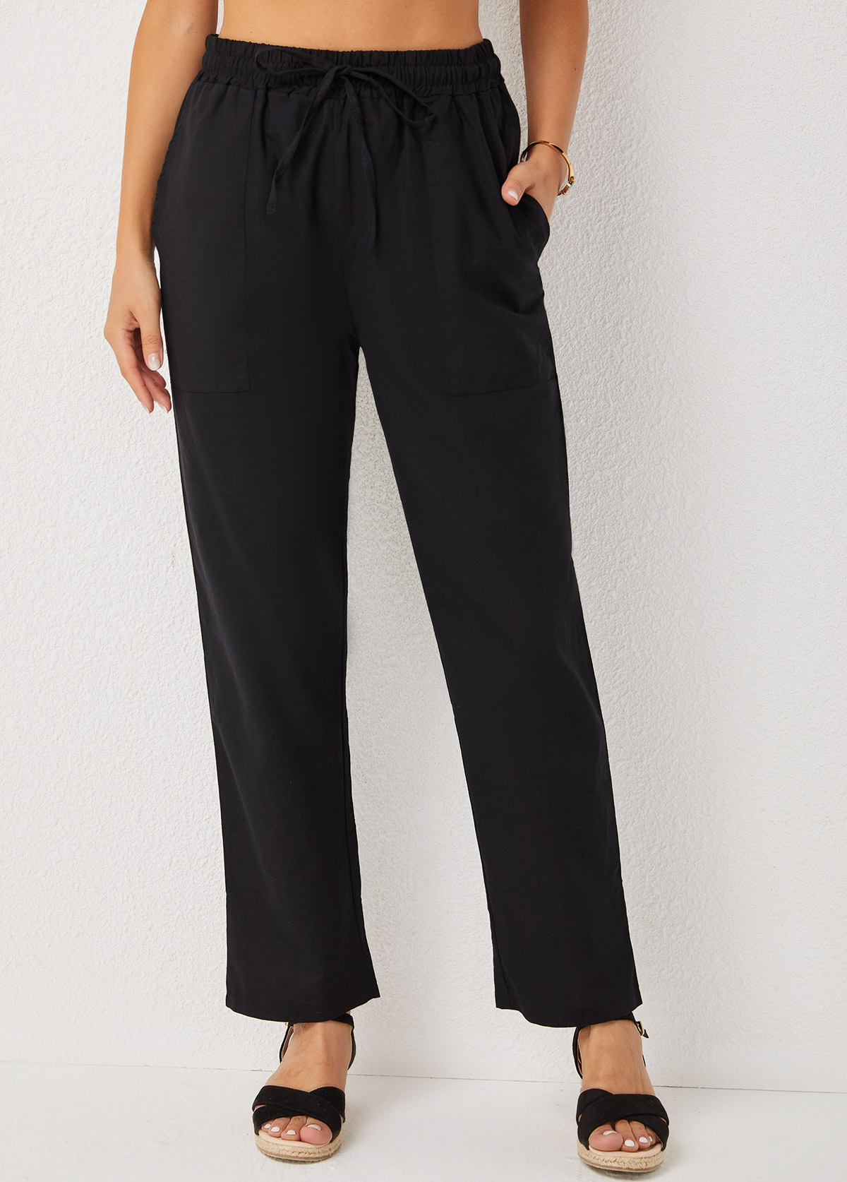 High Waisted Pocket Detail Solid Pants