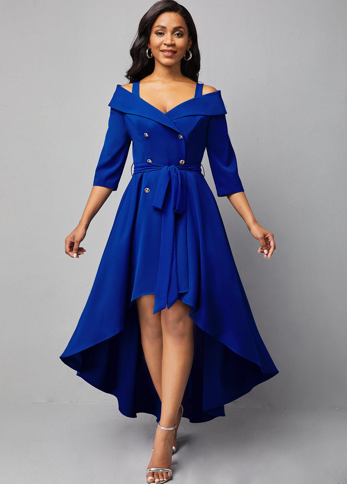 ROTITA Double Breasted Cold Shoulder Dip Hem Dress