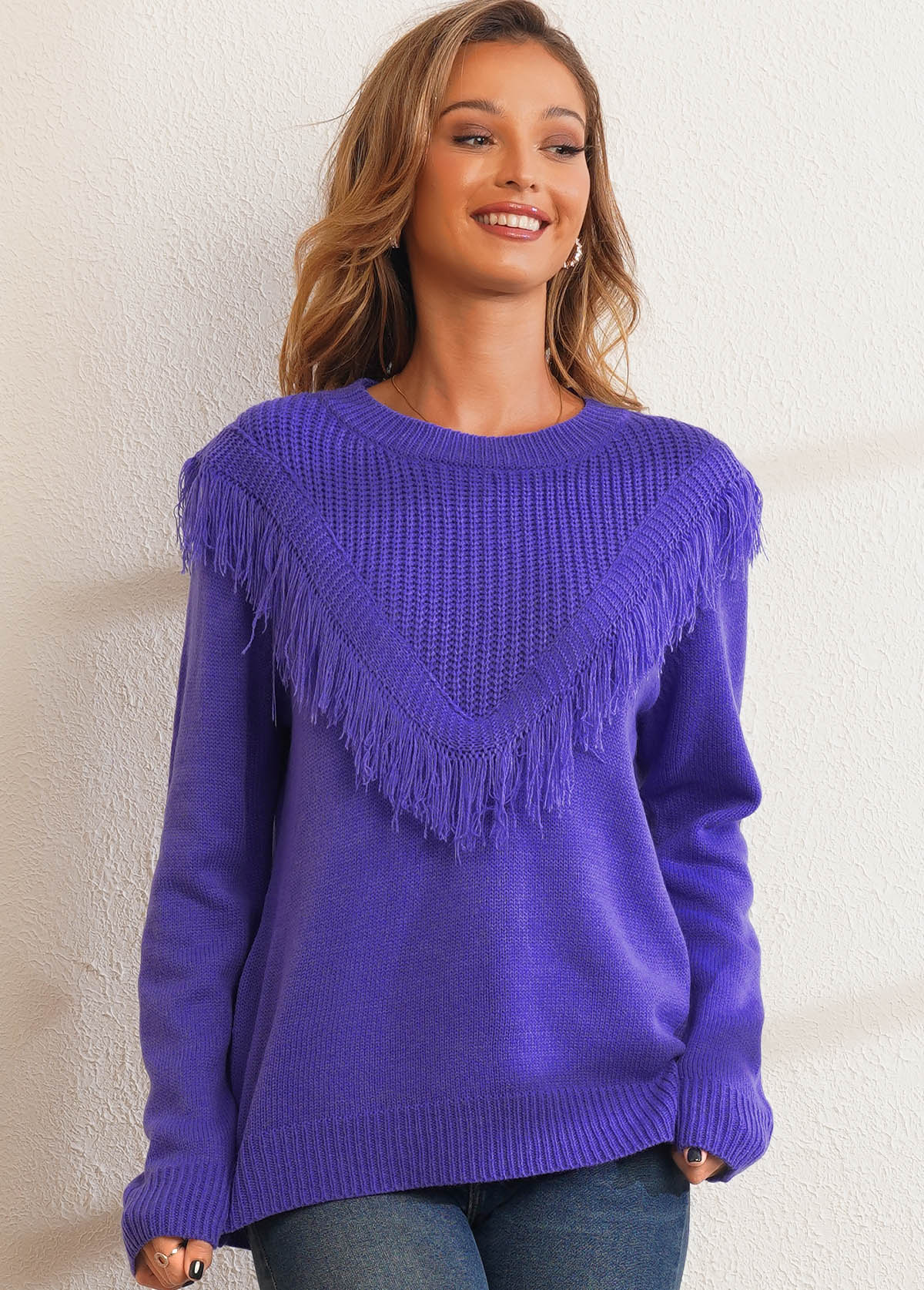 Solid Tassel Round Neck Long Sleeve Sweater