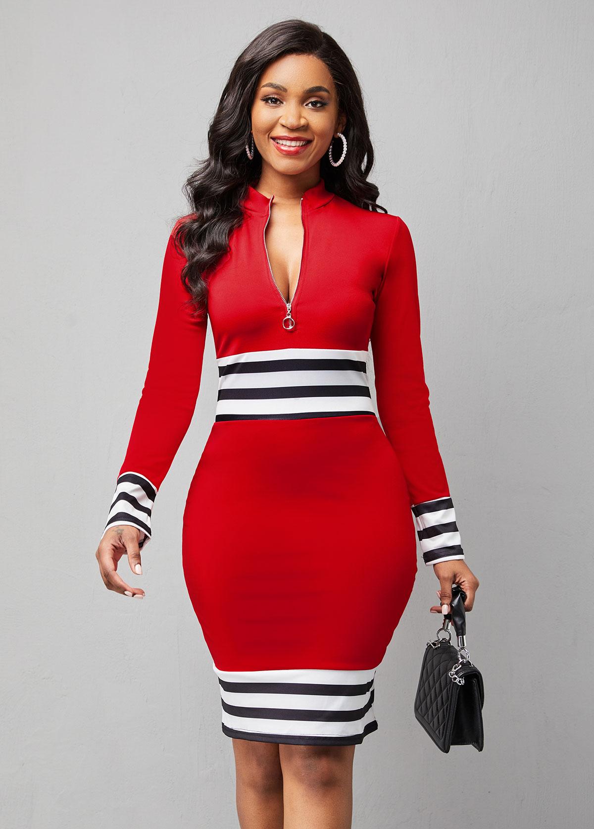 Striped Quarter Zip Mock Neck Long Sleeve Dress