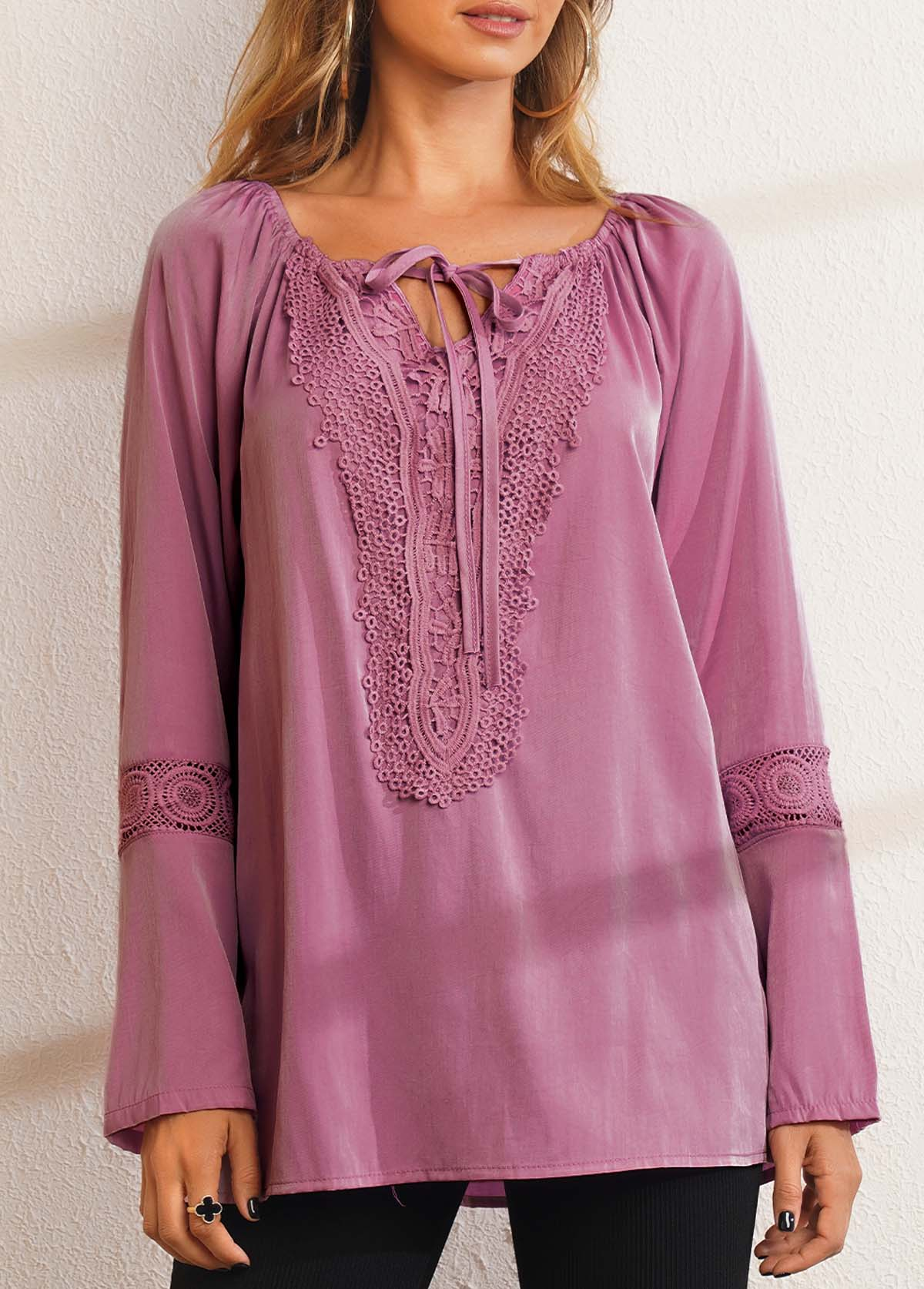 Tie Front Lace Panel Long Sleeve Blouse