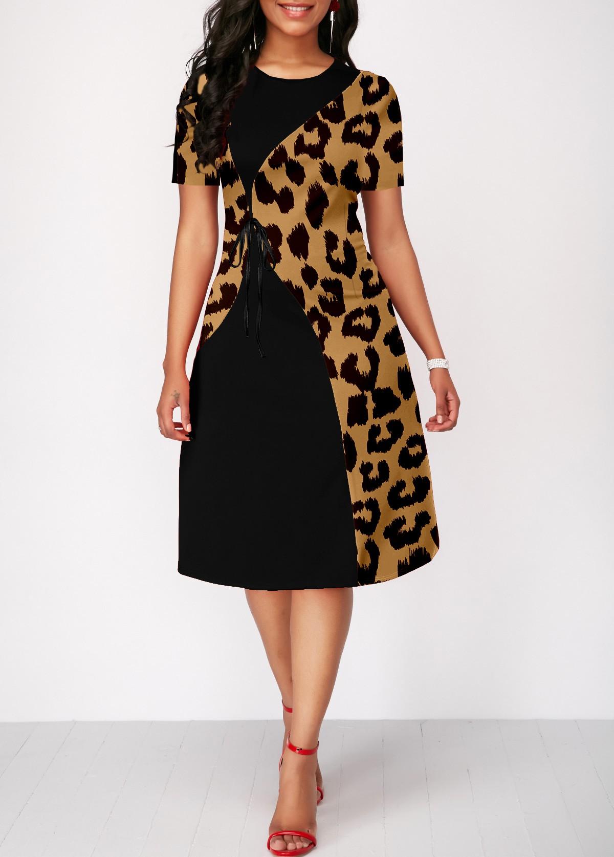 ROTITA Leopard Round Neck Short Sleeve Dress