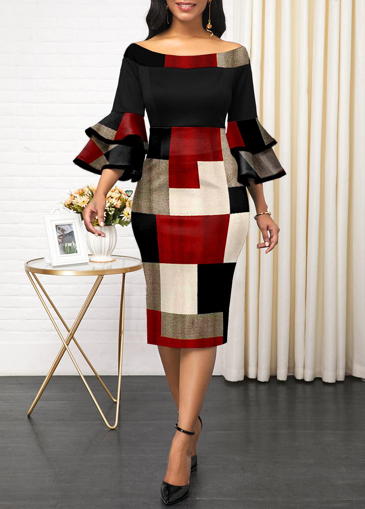 ROTITA Layered Bell Sleeve Boat Neck Geometric Print Dress