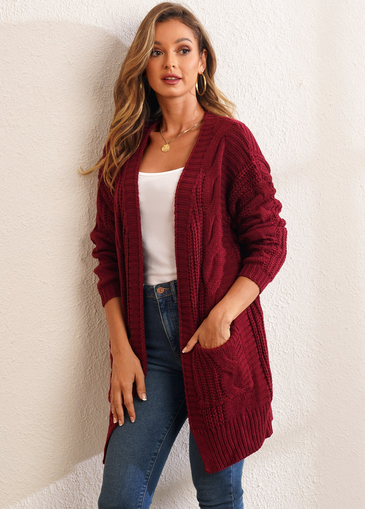 Open Front Pocket Long Sleeve Solid Cardigan