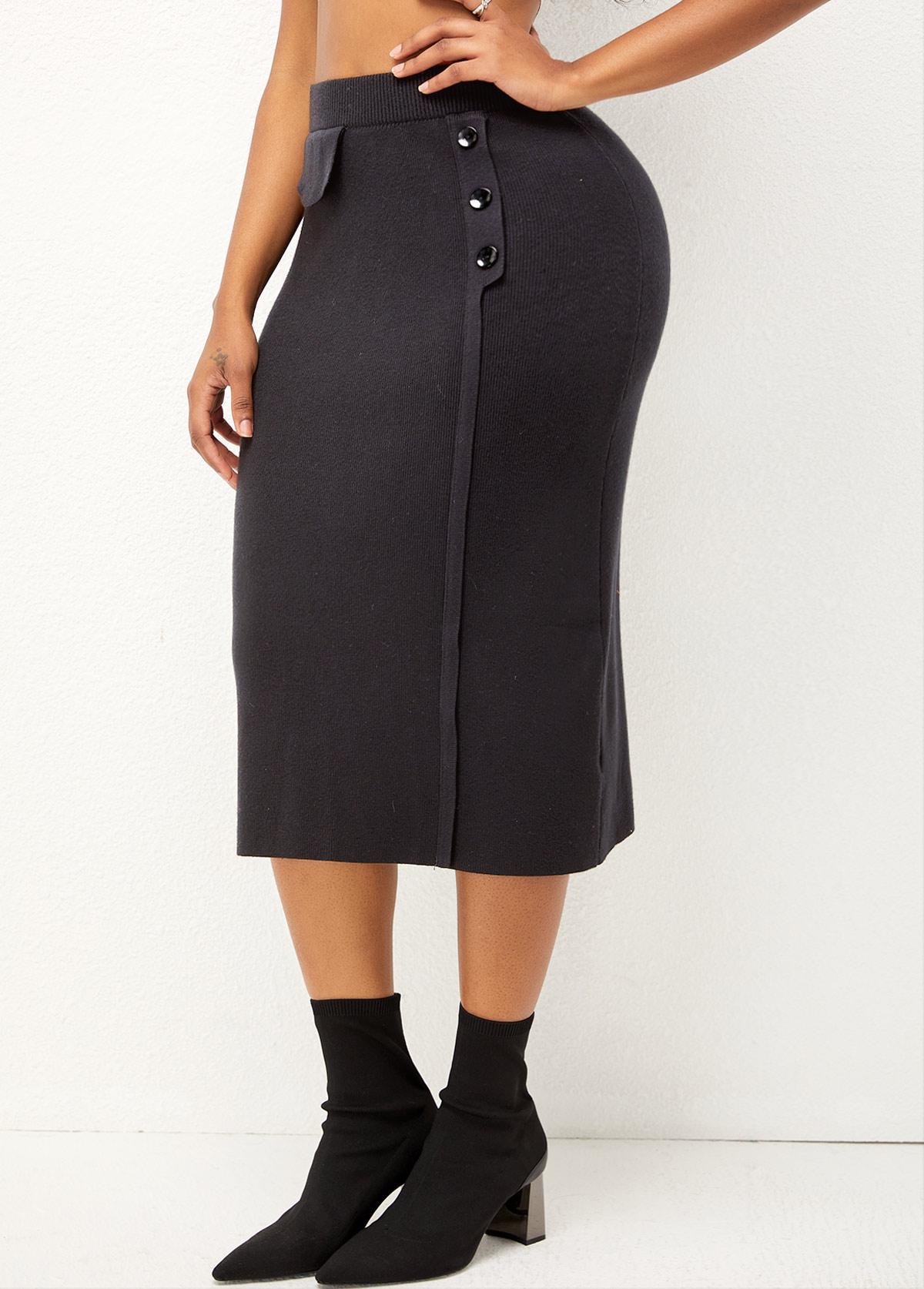 ROTITA High Waist Decorative Button Solid Skirt