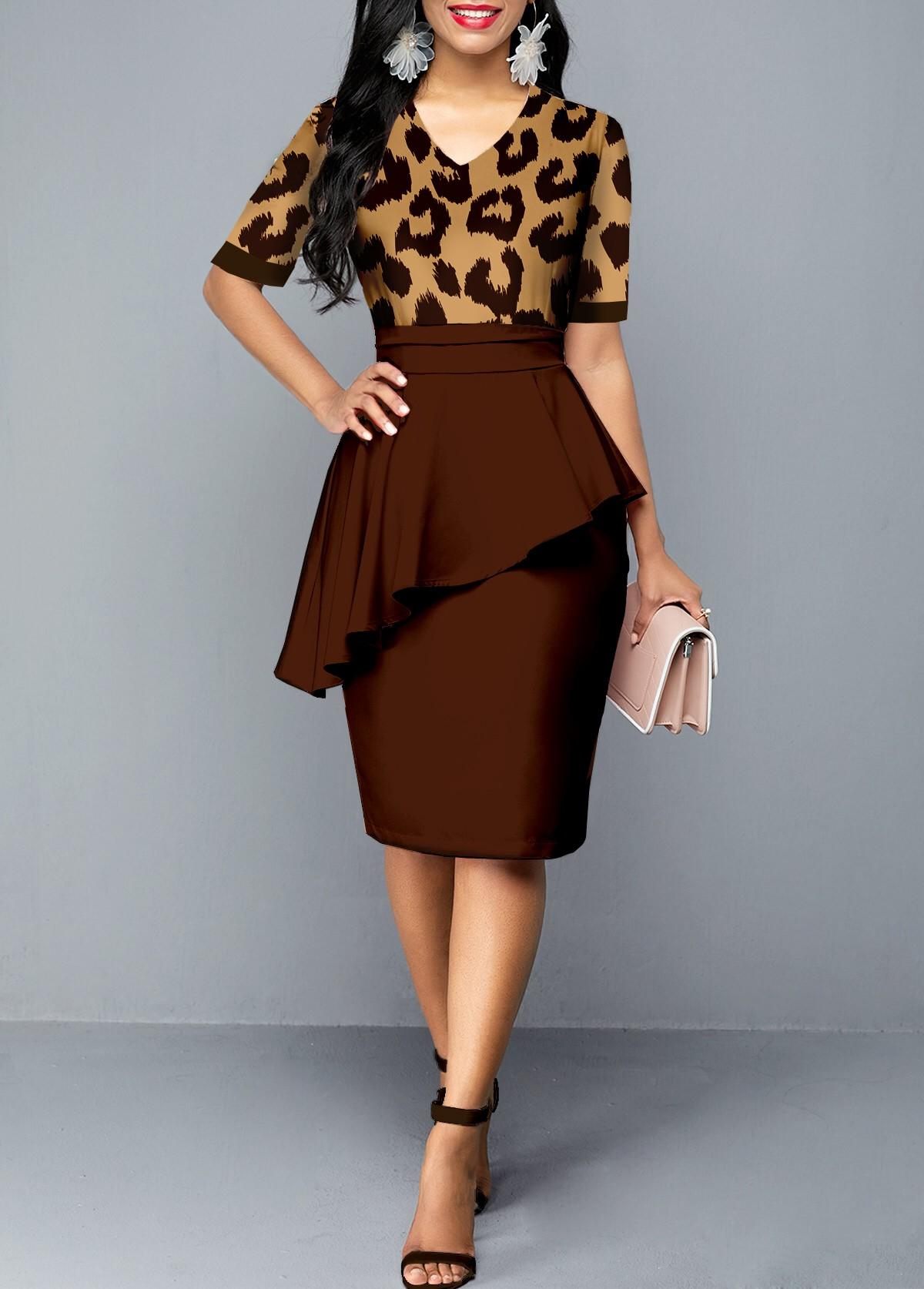 ROTITA Peplum Waist Leopard V Neck Dress