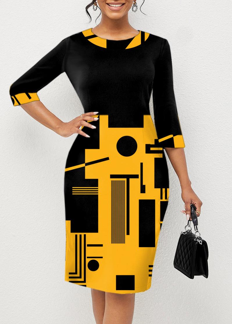 ROTITA 3/4 Sleeve Geometric Print Round Neck Dress