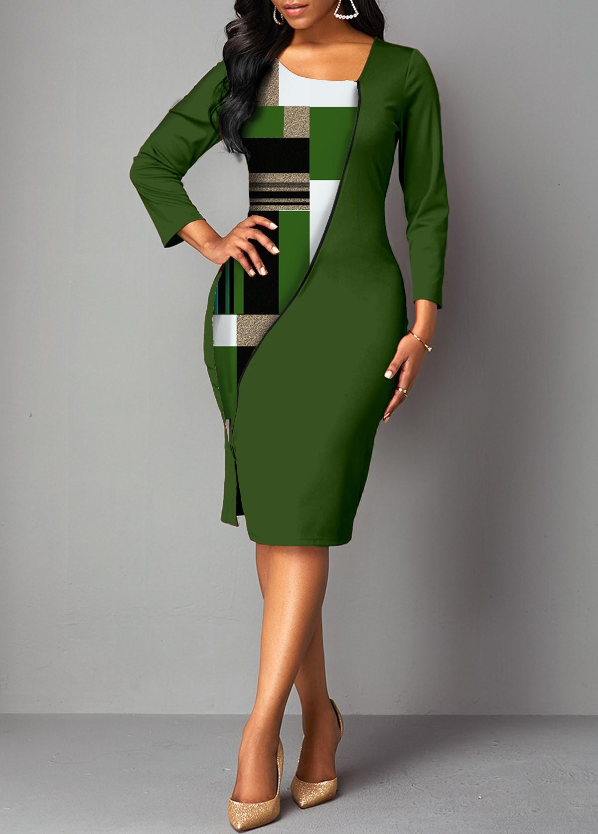 ROTITA 3/4 Sleeve Geometric Print Bodycon Dress